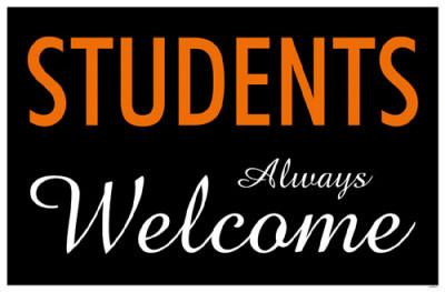 Students Always Welcome