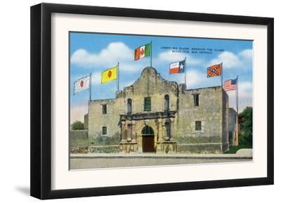 San Antonio, Texas - Exterior View of the Alamo under Six Different Flags, c.1940