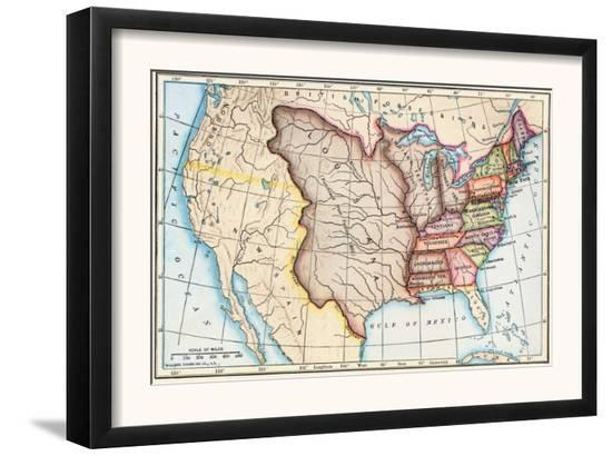 Map Of The U S In 1803 Showing The Louisiana Purchase Prints At
