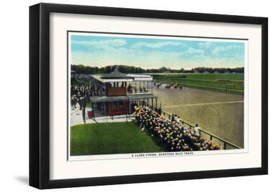 Saratoga Springs, New York - View of a Close Finish at the Horse Race Track, c.1914