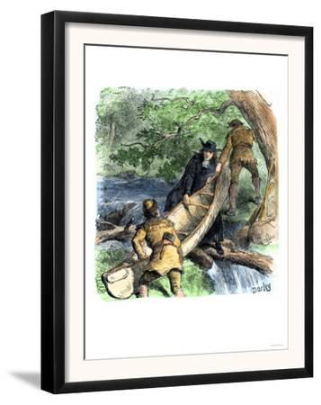French Missionary and Fur Traders Carrying a Canoe at a Portage in North America
