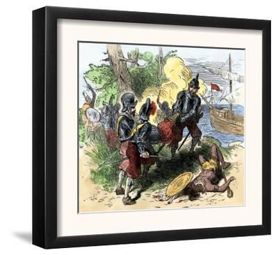 Juan Ponce de Leon, Wounded by Florida Natives, Carried Aboard Ship for Retreat to Cuba, c.1521