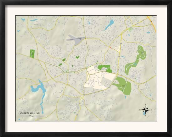 Political Map of Chapel Hill, NC Posters at AllPosters.com on