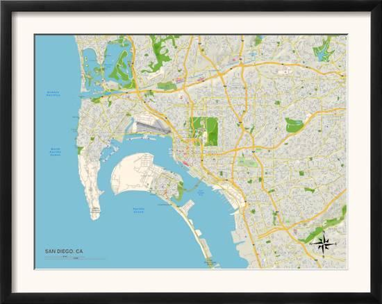Political Map of San Diego, CA Prints at AllPosters.com