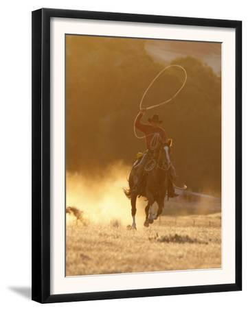 Cowboy Galloping While Swinging a Rope Lassoo at Sunset, Flitner Ranch, Shell, Wyoming, USA