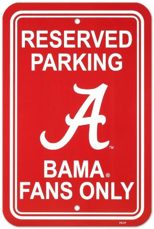 NCAA University of Alabama Parking Sign