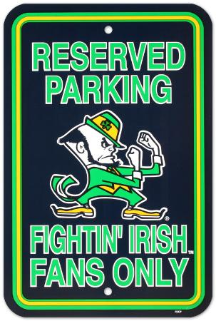 University of Notre Dame Parking Sign