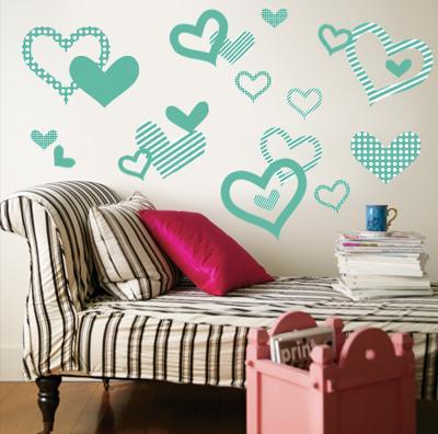 Aqua Pattern Hearts