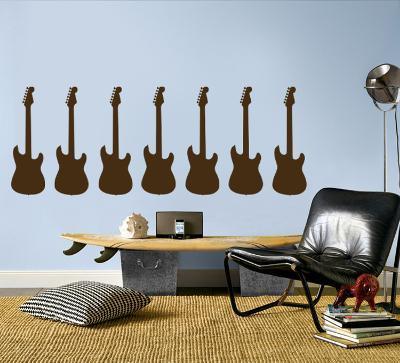 Brown Guitar Silhouette - Set of 7