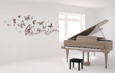 Musical Butterflies Wall Decal Sticker