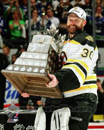 Tim Thomas with the Conn Smythe Trophy Game 7 of the 2011 NHL Stanley Cup Finals(#44)