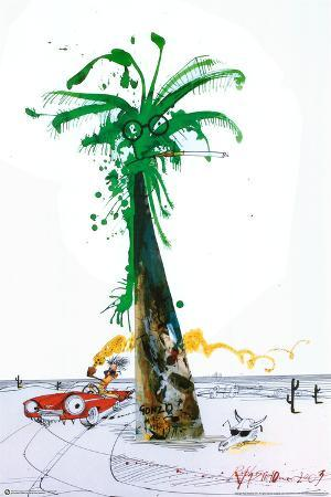 Hunter Driving By Palm - Ralph Steadman