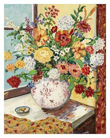 Flowers in Red and White Vase