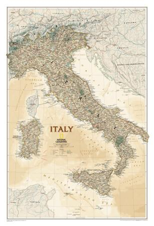 National Geographic Italy Map, Executive Style