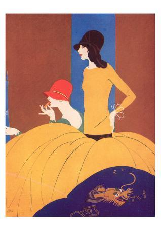 Art Deco Two Women Doing Make Up.