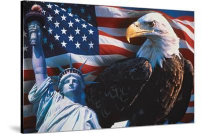 American Flag, Eagle and Statue of Liberty
