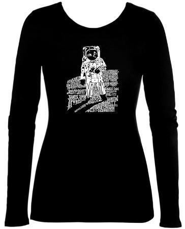 Womens Long Sleeve: Astronaut Word Art