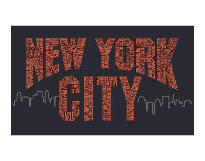 New York City Boroughs (orange on navy)