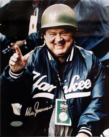 Don Zimmer Autographed Wearing A Green Yankee Hard Helmet Vertical Photo