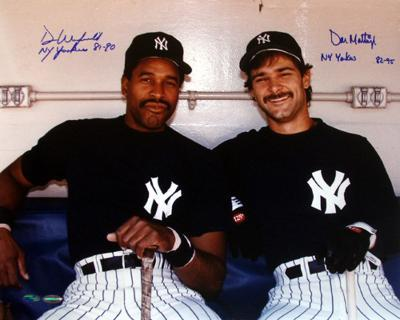 Don Mattingly & Dave Winfield Dual Signed With Inscriptions Dugout Photograph