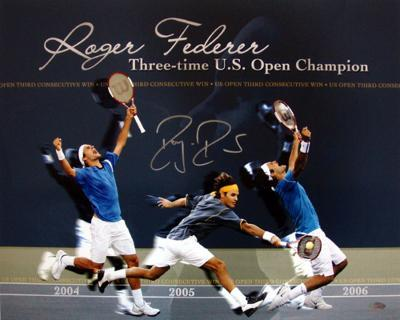 Roger Federer Three Photo-Time U.S. Open Champion Collage Autographed Photo (H& Signed Collectable)