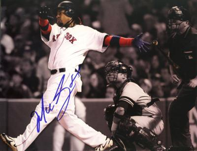 Manny Ramirez Sepia Tone Home Run vs. Yankees Autographed Photo (Hand Signed Collectable)