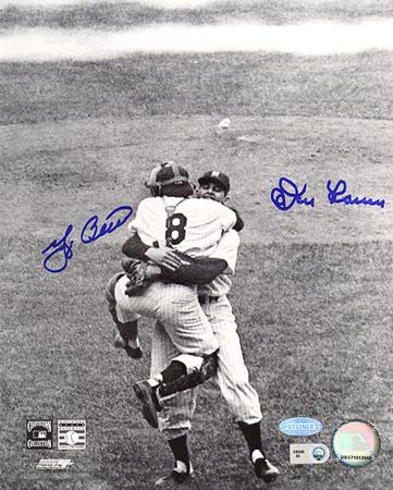 Yogi Berra & Don Larsen Dual Hug Autographed Photo (Hand Signed Collectable)