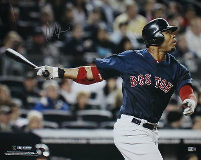 Carl Crawford Boston Red Sox Blue Jersey Hit Autographed Photo (Hand Signed Collectable)