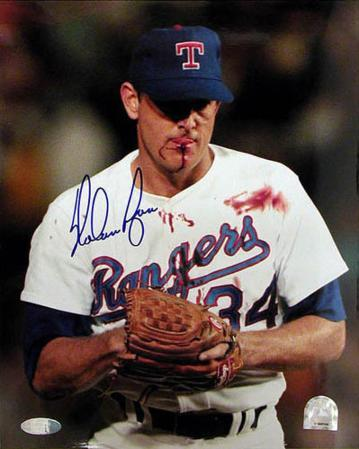 Nolan Ryan Blood Autographed Photo (Hand Signed Collectable)