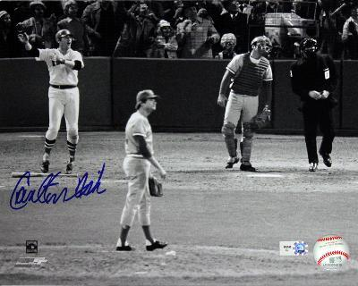 Carlton Fisk Autographed 1975 World Series Home Run Photograph