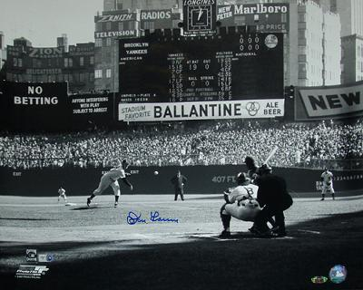 Don Larsen Autographed First Pitch Black And White Photograph