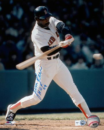 "Jim Rice Autographed ""HOF"" Batting White Jersey Vertical Photo"