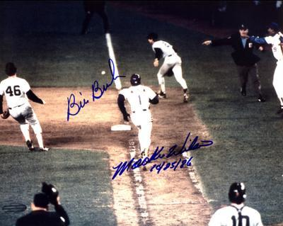"""Bill Buckner & Mookie Wilson Dual , Wilson """"10/25/86"""" Autographed Photo (Hand Signed Collectable)"""