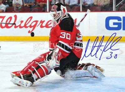 Martin Brodeur Autographed Save vs Penguins Horizontal Photo