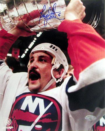 Bryan Trottier Autographed With The Cup Photograph