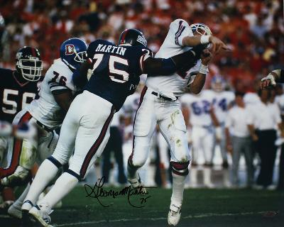 George Martin SB XXI Hit on Elway (Signed in Black) Autographed Photo (H& Signed Collectable)