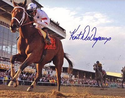 Big Brown Crossing the Finish at the Preakness Signed By Kent Desormeaux Photo