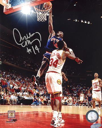 Anthony Mason Slam Dunk Over Hakeem Olajuwon Autographed Photo (Hand Signed Collectable)