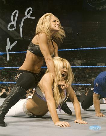Michelle McCool WWE Action Autographed Photo (Hand Signed Collectable)
