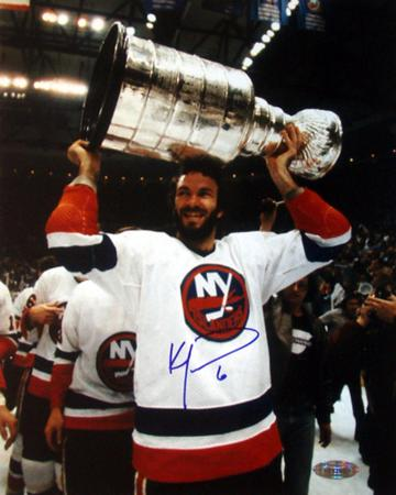 Ken Morrow With Stanley Cup Overhead Autographed Photo (Hand Signed Collectable)