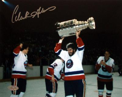 Clark Gillies Holding Stanley Cup Over Head Autographed Photo (Hand Signed Collectable)