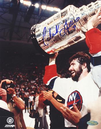 Clark Gillies Autographed Cup Over Head Vertical Close Up Photograph
