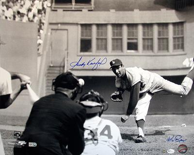 Sandy Koufax And Ken Regan Dual Pitching B/W Autographed Photo (Hand Signed Collectable)