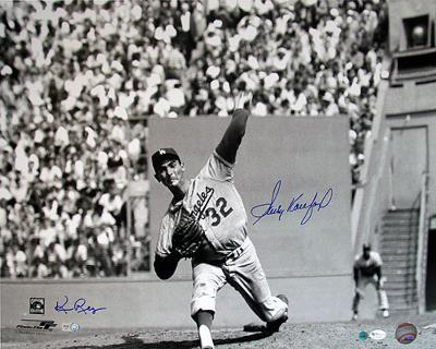 Sandy Koufax And Ken Regan Dual Wind Up B/W Autographed Photo (Hand Signed Collectable)
