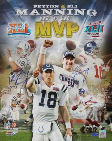 "Peyton Manning Super Bowl XLI MVP/Eli Manning Super Bowl XLII MVP Collage (""The Manning Brothers"")"