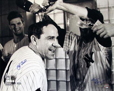 Yogi Berra Champagne B&W (Signed by Regan) (MLB Auth) Autographed Photo (Hand Signed Collectable)