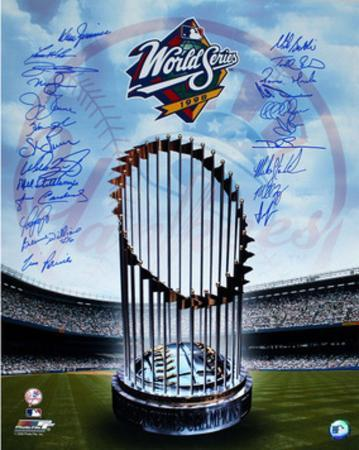 Yankees 1998 Multi Signed of Trophy (With Bernie Williams) (23 Sigs)