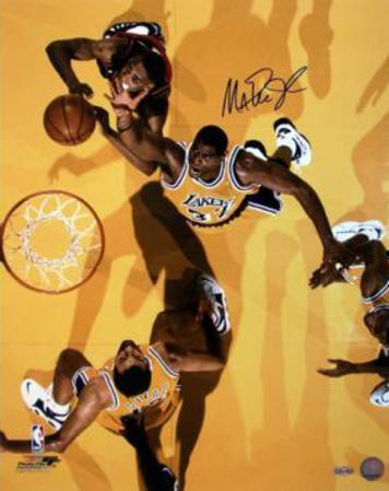 Magic Johnson Overhead View Yellow Floor Autographed Photo (Hand Signed Collectable)