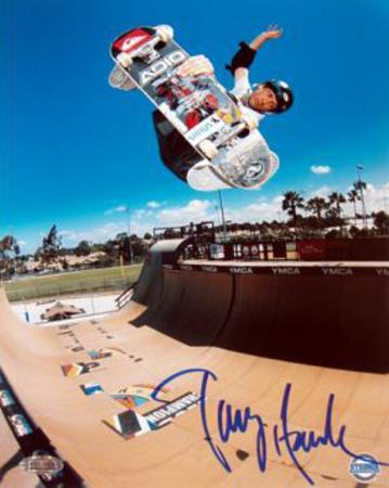Tony Hawk - Skateboarding - Half Pipe Action in Blue Autographed Photo (Hand Signed Collectable)