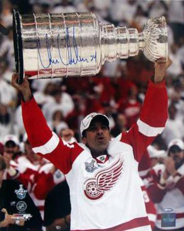 Chris Chelios Red Wings Stanley Cup Overhead Autographed Photo (Hand Signed Collectable)